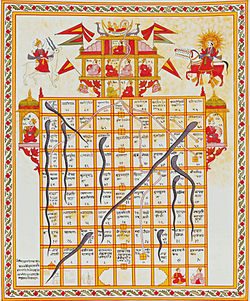 Snakes and ladders is a ancient Indian game. The game is a simple race based on sheer luck, and is popular with young children.